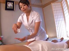 Glorious Brunette Serves A Magnificent Massage To A Lucky Man
