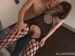 Smoking hot Japanese chick is moaning with a dick in her muff