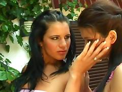 Hardcore lesbian action with big-breasted brunette Giovana