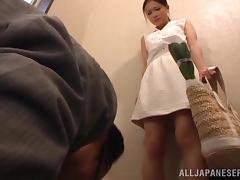 Nice Kana Tsuruta gives a blowjob on a staircase