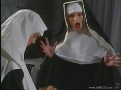 Two horny nuns toy each others pussies in a convent