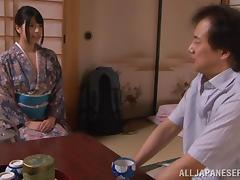 A Japanese girl in a kimono gets fucked doggystyle