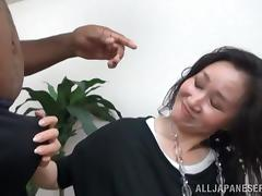 Japanese mature lady is going for a black cock