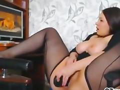 Lingerie BBW masturbating to porn