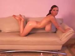 Busty Merilyn Sakova (Anya Zenkova) oiled herself (Part I).