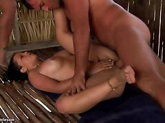 Zafira and Monaliza enjoy hot foursome banging in a shed