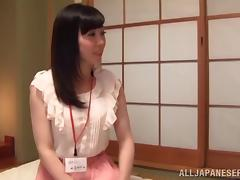 Japanese Pornstar In Panties Watches In Excitement As He Undresses