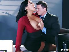 Rough sex in the office with the busty Kiara Mia