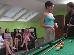 A lucky dude tries his best to satisfy six pretty chicks indoors