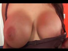 Massive tits slender brunette black cock loving