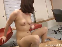 Japanese babe moans as she's penetrated by a guy