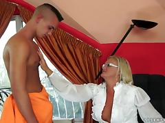 Sexy Mature Blonde Fucks Young Boy