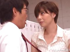 Slutty Japanese Teacher Fucked In The Locker Room By Her Students