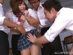 Asian College Girl Gangbanged In The Classroom