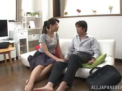 Mako Morishita jumps on a cock after enjoying ardent fingering