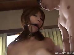 Submissive Japanese skank Chisato Shohda enjoys two cocks