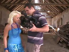 lascivious blondie Melanie Crush gets gangbanged in the attic