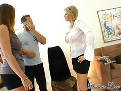 Busty MILFs Get Hardcore Fucked In A Hot FFM Threesome
