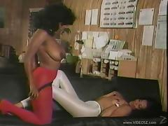 Ebony lesbian babes have sex in vintage video