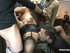 Insatiable brunette tart Alice Ax gets gangbanged hard