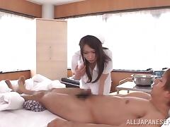 Hana Nonoka wild Asian nurse gets cum on her face