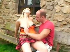 Busty blonde goddess Jay Sweet gets fucked on the wooden bench