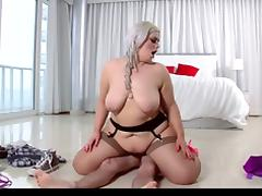 Hot BBW Blonde Fucks Her Guitar Instructor in Stockings
