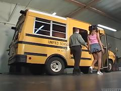 Naughty teen is fucked silly by a horny school bus driver