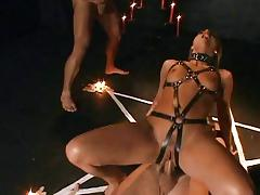 Slutty witch anally possessed by 3  fat dicks