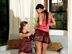 Deny and Juliette lick each other's boobs and coochies indoors