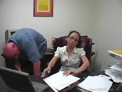 Sexy Brunette Babe Gets Fucked In The Office By Her Janitor