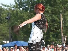 Exhibitionist Redheaded MILF Dances Naked in Front of a Crowd