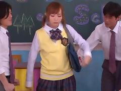 Yuu Namiki nice Asian teen in school uniform in threesome
