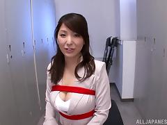 Kokoro Maki shows off her huge tits before being fucked