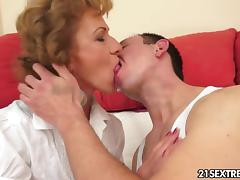 Mom and Boy, Ass, Ass Licking, Bed, Blonde, Blowjob