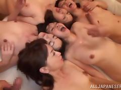 Horny Japanese Babes Take A Big Cumshot After Some Nasty Group Sex
