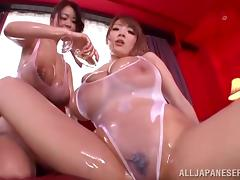 Incredibly Busty Japanese Babes Get Oiled Up And Blow A Guy POV