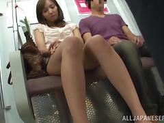 Bus, Asian, Blowjob, Bus, Couple, Fingering