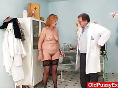 Chubby mature woman gets her pussy toyed at the gynecologist's