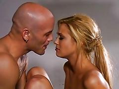 Lovely blonde Stefani Morgan playing strip