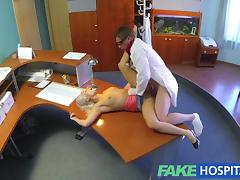 Perfect sexy blonde gets probed and squirts on doctors receptionist desk
