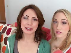 Sarah Shevon and Lily Labeau give a hot deepthroat blowjob