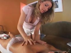 Doll In White Pants Is Given A Massage Before Licking A Pussy