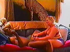 BBW blonde is fucked by a big black cock in vintage clip