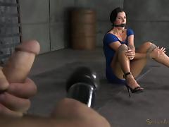 All, BDSM, Bound, Brunette, Interracial, Jerking