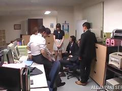 Gorgeous Japanese Girl Enjoying A Hardcore Gangbang In Her Office