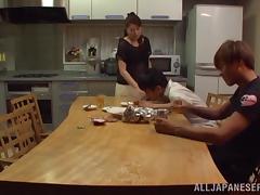 Kitchen, Asian, Babe, Bra, Couple, Cowgirl