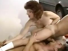 Vintage Bisexual Threesome in the Garage