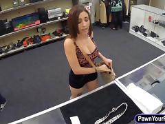 Sexy girl sells her jewelries and fucked in pawnshops toilet