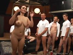 Sexy Lady With Natural Tits Being Gangbanged Hardcore Doggystyle